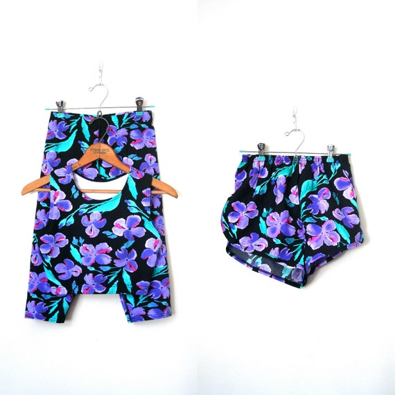 vintage 3 piece WORKOUT GEAR shorts / crop top/ pants PURPLE iris floral 1980's nwot