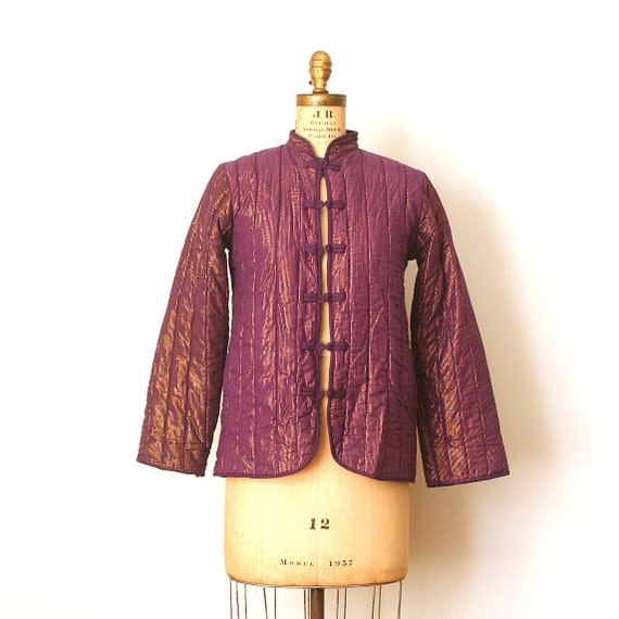 Reserved for A . vintage 1970's QUILTED JACKET purple &  gold INDIA boho luxe / hippie / gypset