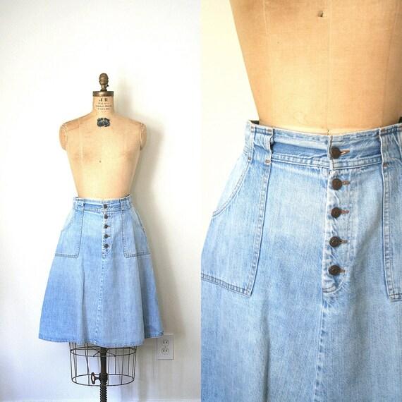 vintage denim skirt LEVI'S levi strauss 1970's ORANGE LABEL soft & faded / a line . s