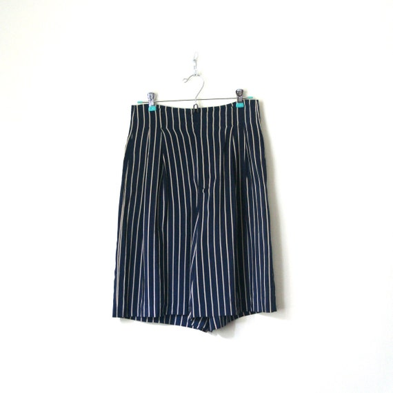 vintage silk shorts / walking - bermuda RALPH LAUREN 1980's preppy STRIPED nautical