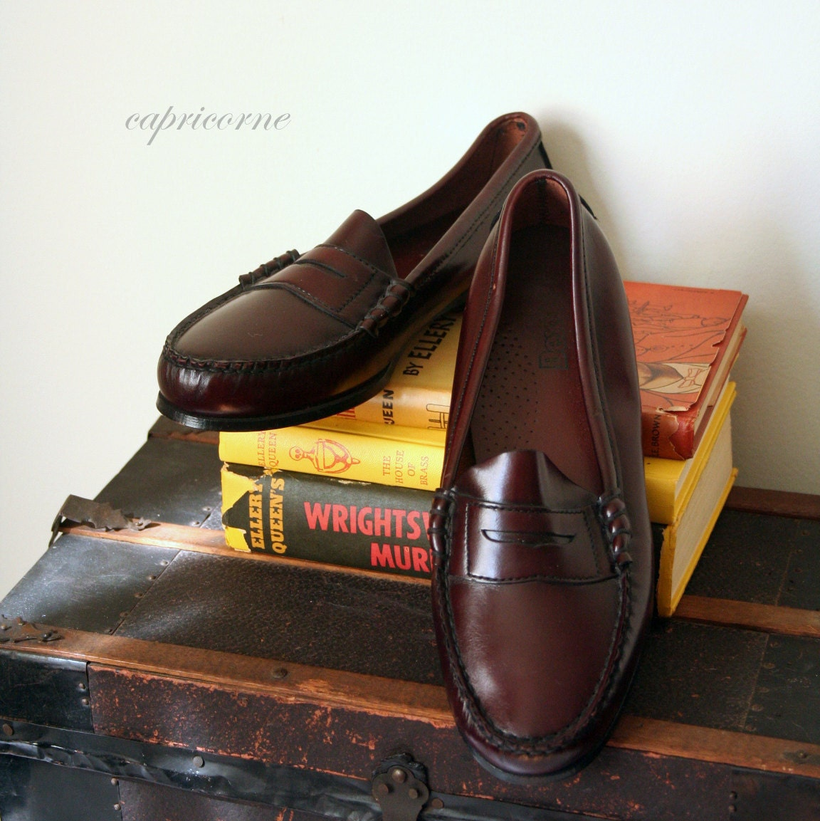 vintage PENNY LOAFERS oxblood leather PREPPY dexter nearly new