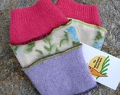 Funky Fingerless Gloves with Vintage Print Accent
