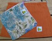 Repurposed 100 percent  Multi-purpose Linen Drawstring Bags - Set of Two