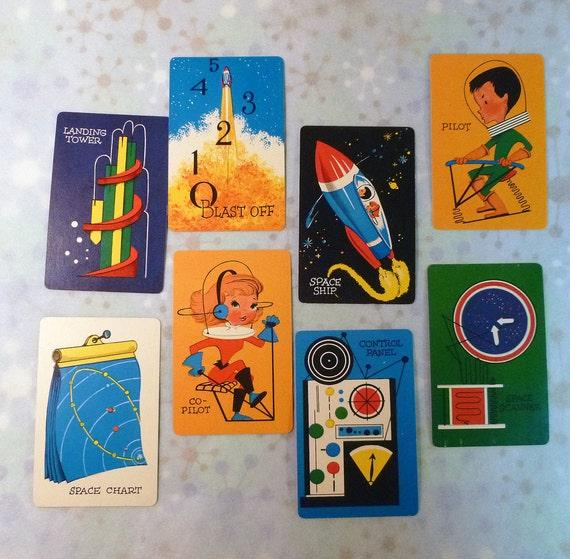Vintage Space-O Game Cards Retro