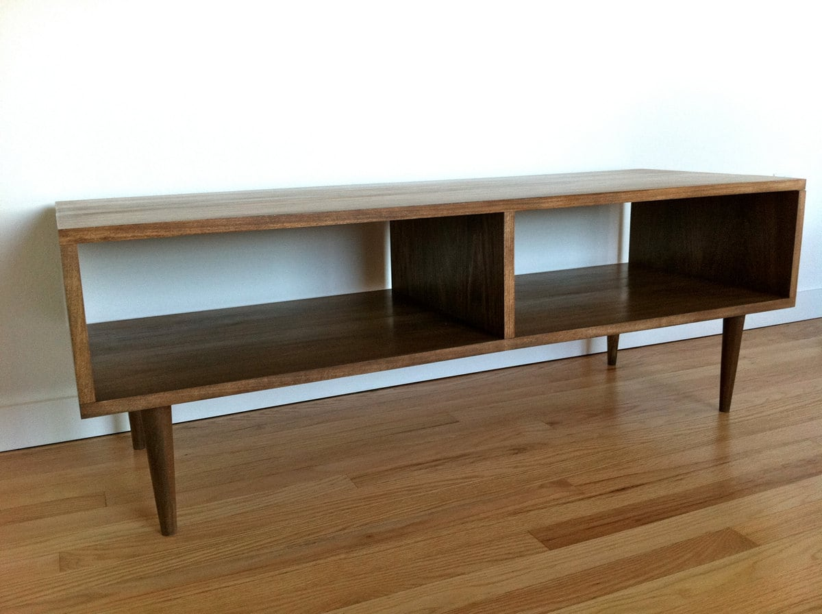 Danish modern style tv stand coffee table custom for Console coffee table