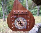 Handcrafted Gourd Harp with Walnut Soundboard and Celtic Knot Rosette