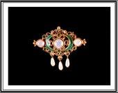 Vintage Florenza Filigree Pin Brooch Opalite Green Enamel Rhinestones