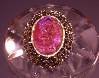 Vintage Art Glass Brooch Costume Jewelry Lava Stone Rare Beauty