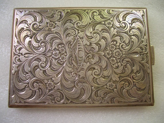 Antique Engraved Silver Cigarette Case Chased Antique