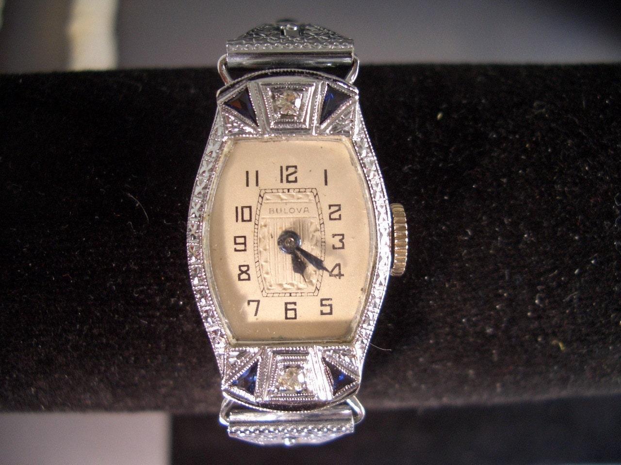 vintage antique bulova 14k sapphires