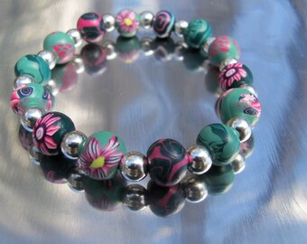 Pink and green polymer clay bracelet