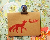 Hello Fox Card using Hand Carved Design