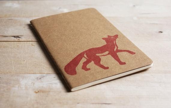 Red Fox Spring Pocket Size Moleskine Journal Notebook Hand Carved Blockprint Woodland Christmas Gift Stocking Stuffer Men Dad Present