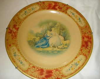 "Enchanting  Round Vintage BARET WARE TIN Plate - ""The Love Letter"""