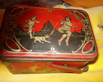 Treasury Item - Very RARE and Very Wonderful 1920's Lithographed Child's Tin LUNCH PAIL W/Hinged Lid
