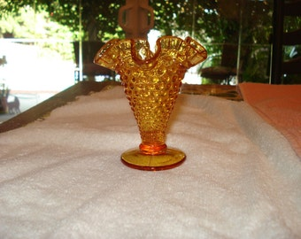 Polka Dots & Ruffles: Delightful Vintage 1950's Ruffled-Top, HOBNAIL Bodice, Amber Glass BUD VASE