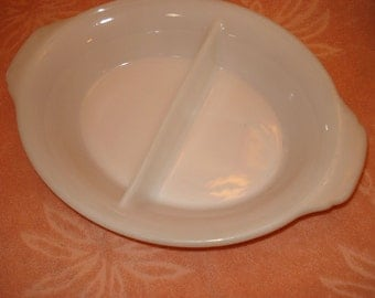 Great Anchor Hocking, FIRE KING Two-Section/Divided CASSEROLE Dish - 1940s