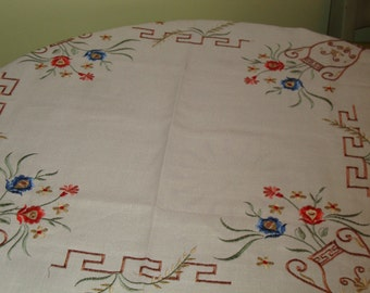 "MINT, Hand Embroidered, Lovely VINTAGE Linen TABLECLOTH w/Asian Flair - 33"" x 33"" - Treasury Item"