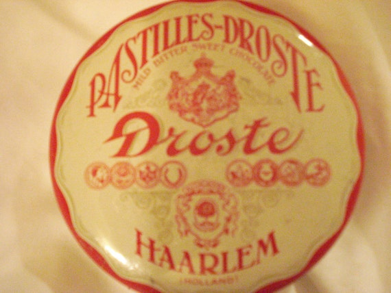 Divine, Mint Condition Round, Dutch Droste Pastilles-Droste Vintage Mid Century Tin