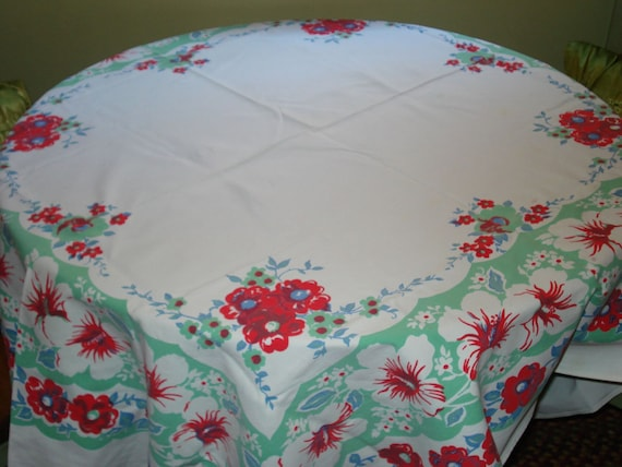 NEW SALE: 3.00 OFF - 1950's Great Vibrant & Colorful Retro Near Mint Condition Vintage Tablecloth