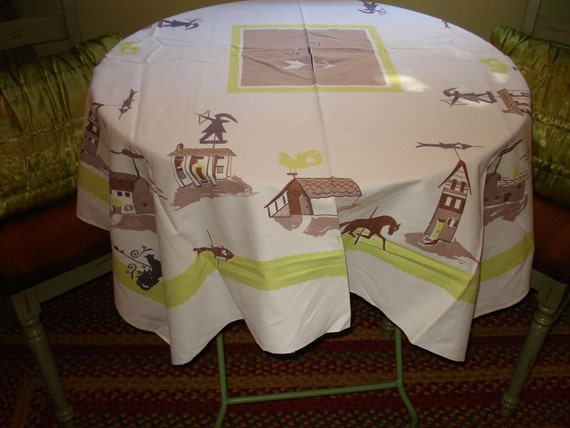 "RARE & Wonderful 53"" x 48"" Linen Mid Century Weathervane VINTAGE Tablecloth - EAMES Era"