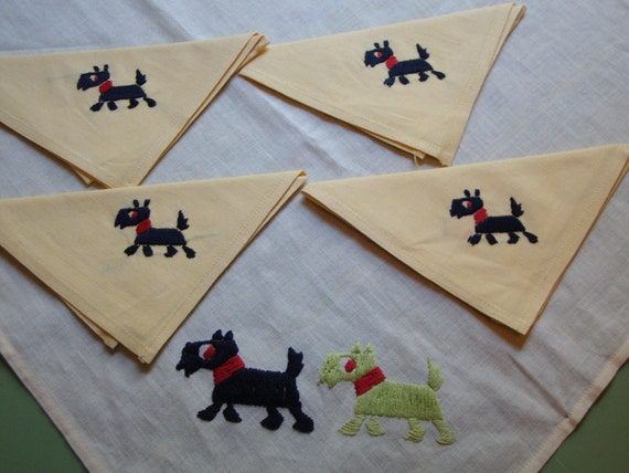 So Adorable: Vintage Whimsical Mid Century Scotty Dogs Yellow LINEN NAPKINS and TABLECLOTH