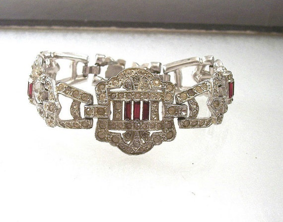 MAGNIFICENT Art Deco/VICTORIAN Clear & Red, Pave-Set, Vintage Rhinestone Bracelet - 1920's - Treasury Item