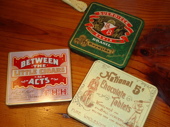 Three LITHOGRAPHED Hinged Vintage ADVERTISING TINS - Fantastic