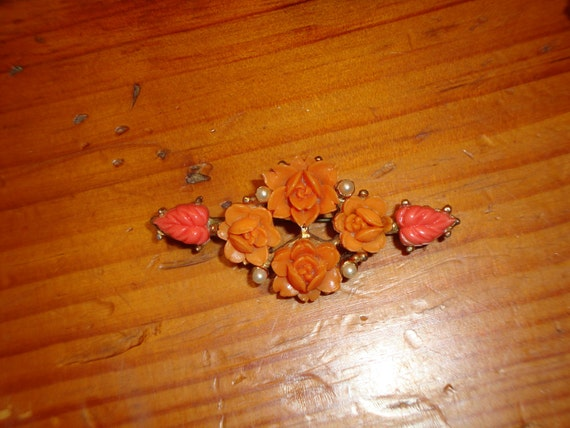 Heavenly Victorian CARVED CORAL ROSES and Leaves Vintage Brooch/Pin W/Tiny Seed Pearls