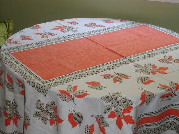 "EAMES ERA: Fabulous Cotton 78"" x 62"" Orange, Grey, Black, Green TERRIFIC Vintage Tablecloth"