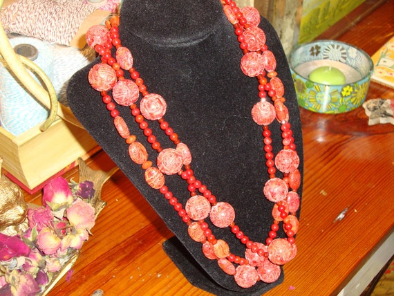 RESERVED/DEBRA  -Marvelous All Authentic Carved CORAL Handmade ooak Beaded 3-Strand Vintage Necklace