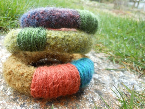 hand knit felted bangles in green orange purple