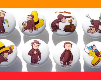8 CUTE  CURIOUS GEORGE kids boys girls   Dresser Drawer knobs pulls
