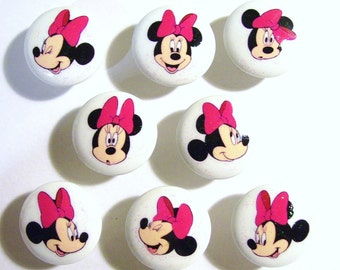 8 MINNIE MOUSE SPARKLE  Pink girls kids  dresser drawer knobs