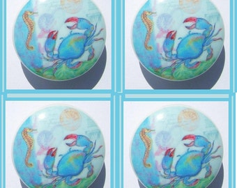4  CRAB  Sea horse   Beach  Ocean Dresser Drawer Knobs