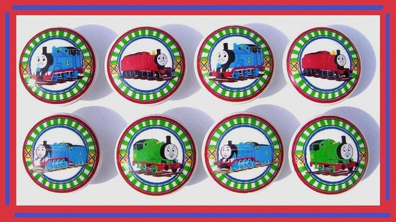 8 THOMAS THE TRAIN  Dresser Drawer Knobs side view boys kids