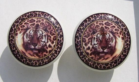 2  TIGER IN Leopard  Print  Jungle Safari  Dresser Drawer Knob