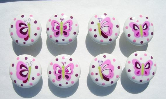 8 Cute RASPBERRY SWIRL  kids girls Butterfly Pink Dresser Drawer Knobs