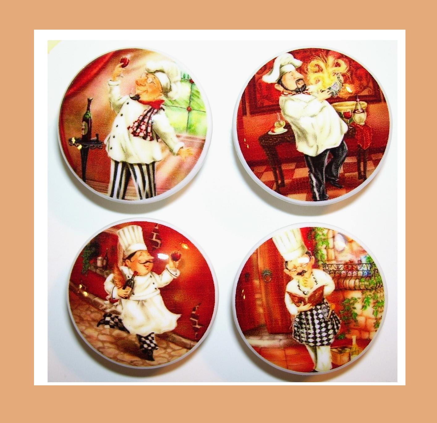 Chef Decor For Kitchen: 4 FAT CHEF Dresser Drawer Knobs