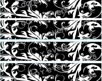 DAMASK black & white Wedding / Shower Printable DIY Napkin Wraps