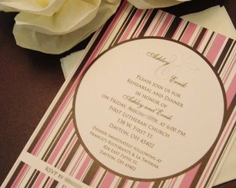 WEDDING INVITE - Striped Wedding Rehearsal Invitation -  Wedding invitation -DIY Printable - Wedding Invite - Bridal Shower Invite