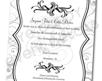 Black & White Wedding INVITE -Damask Wedding Rehearsal - Damask Shower Invitation -  Custom DIY Printable - Bridal Shower Invite