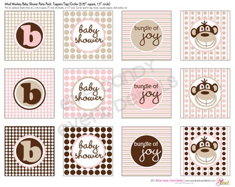 GIRL Baby Shower - Mod Monkey- Baby Girl Baby Shower DIY Printable Toppers - Party Circles