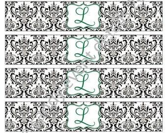 DAMASK monogram black & white Wedding / Shower Printable Customizable DIY Napkin Wraps