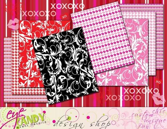 Kiss Me Valentines Day DIY Printable Pattern Paper