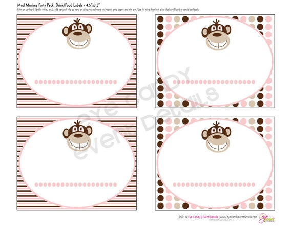 Mod Monkey Baby Girl Shower Customized DIY Printable Party Labels - Signs