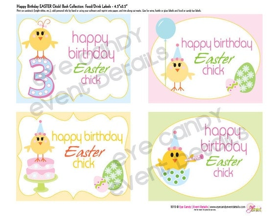 EASTER BIRTHDAY - Happy Birthday Easter Chick Full Custom birthday collection -  DIY Complete Printable Package