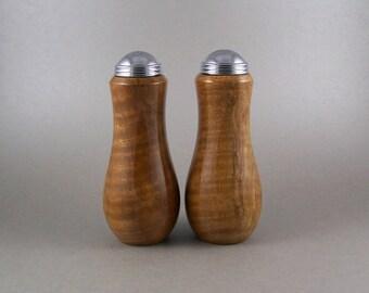 Clearance Salt and Pepper Shakers - Handmade Black Walnut with chrome caps