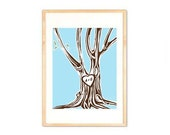 Carved Initials Tree, Custom Name-'Modern Art Prints'  8 x 10 carved initials in tree From Happy Brat