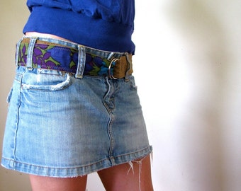 INDIE ATTIRE - Reversible Upcycled Fabric Belt with D-Ring Buckle